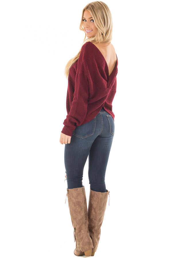 Burgundy Knit Sweater with Open Twist Back back side full body