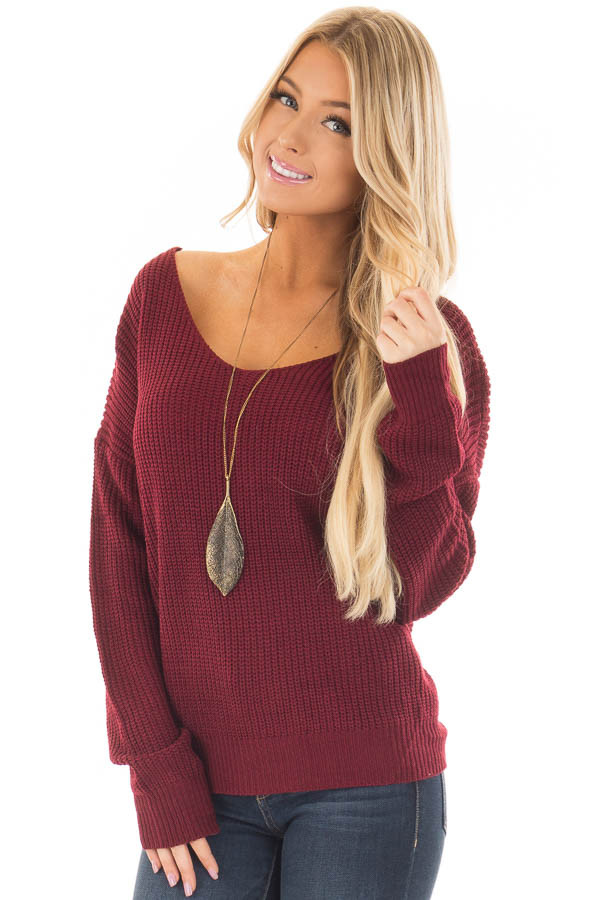 Burgundy Knit Sweater with Open Twist Back front close up