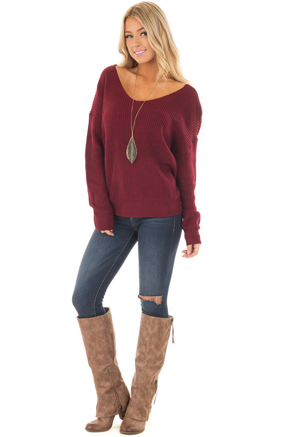 Burgundy Knit Sweater with Open Twist Back front full body