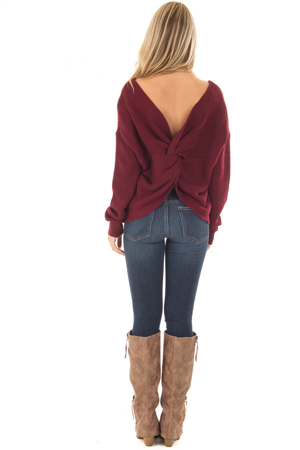 Burgundy Knit Sweater with Open Twist Back back full body