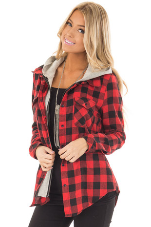 Black and Red Plaid Layered Hoodie front close up