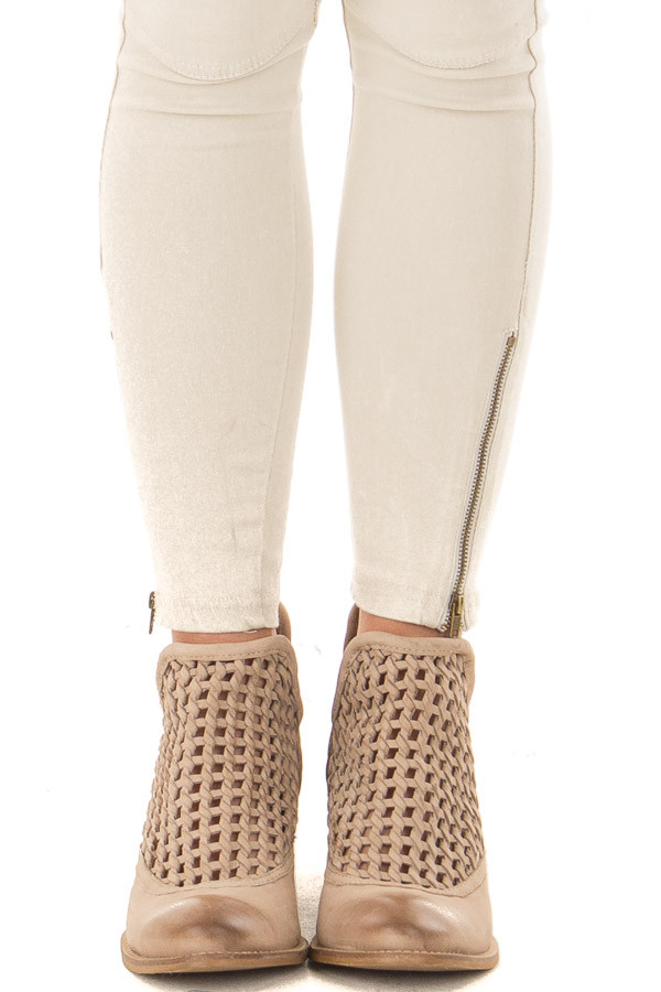 Worn Out Beige Braided Leather Bootie front view