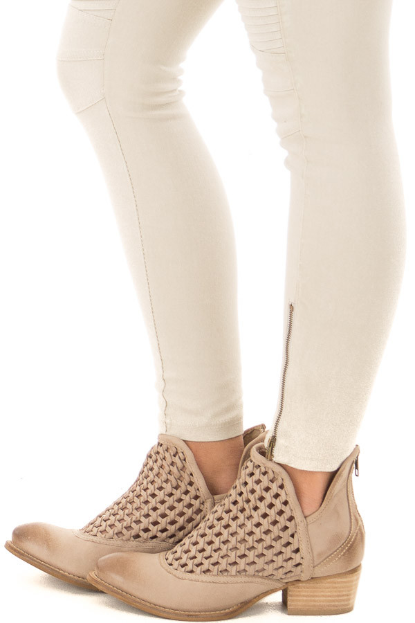 Worn Out Beige Braided Leather Bootie side view