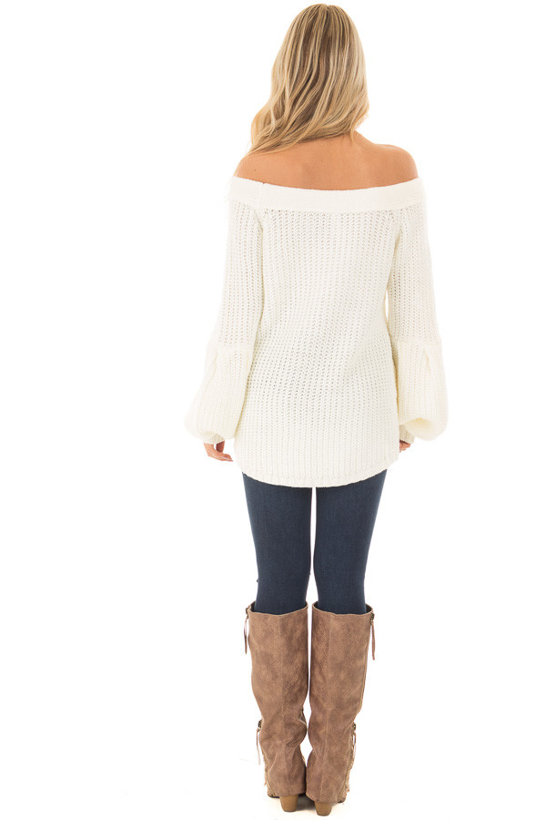 Ivory Off the Shoulder Sweater with Bubble Sleeves - Lime Lush ...