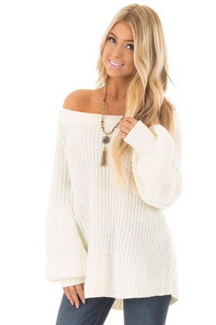 Ivory Off the Shoulder Sweater with Bubble Sleeves front close up