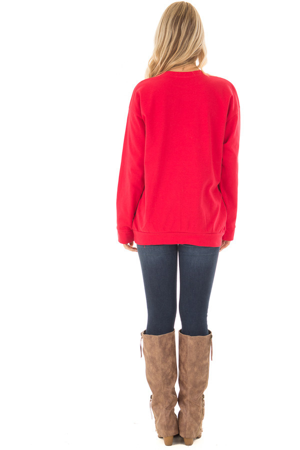 Cherry Red Long Sleeve Sweater with Side Pockets back full body