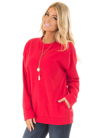 Cherry Red Long Sleeve Sweater with Side Pockets front close up