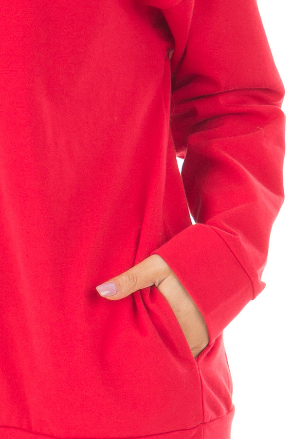 Cherry Red Long Sleeve Sweater with Side Pockets detail