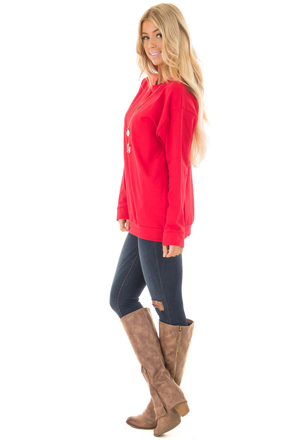 Cherry Red Long Sleeve Sweater with Side Pockets side full body