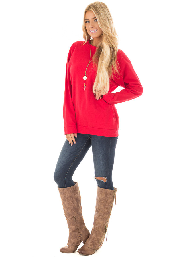 Cherry Red Long Sleeve Sweater with Side Pockets front full body