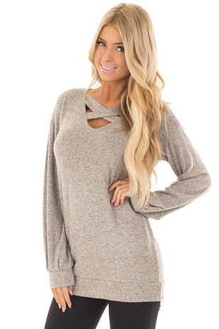 Taupe Two Tone Soft Knit Criss Cross Band Sweater front close up