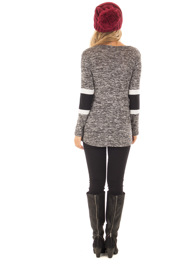 Charcoal Two Tone Top with Solid Stripe Contrast on Sleeves back full body