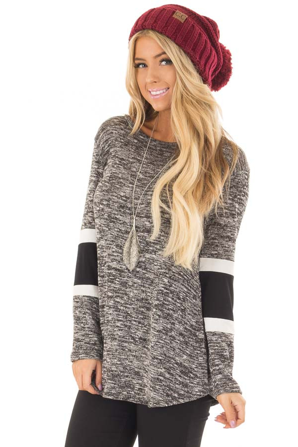 Charcoal Two Tone Top with Solid Stripe Contrast on Sleeves front close up
