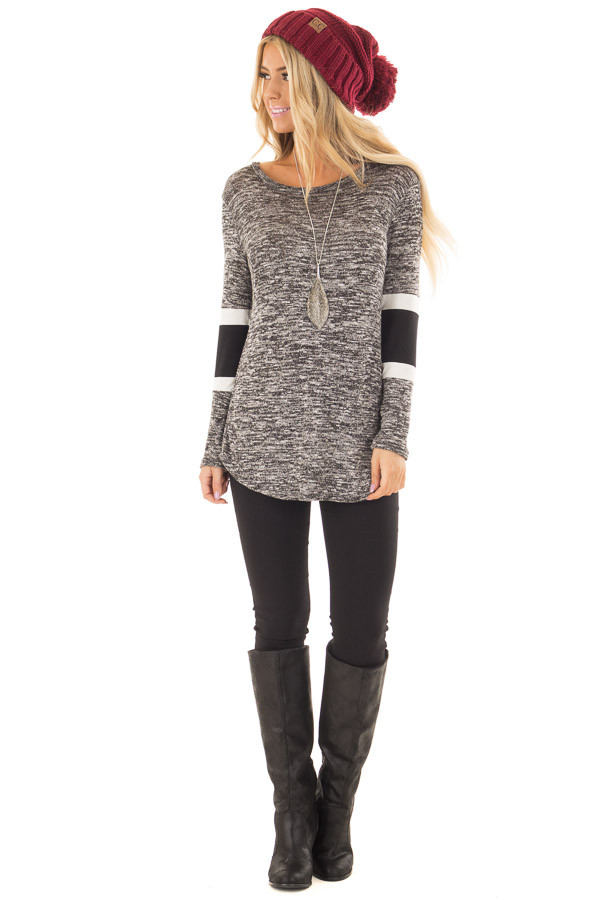 Charcoal Two Tone Top with Solid Stripe Contrast on Sleeves front full body