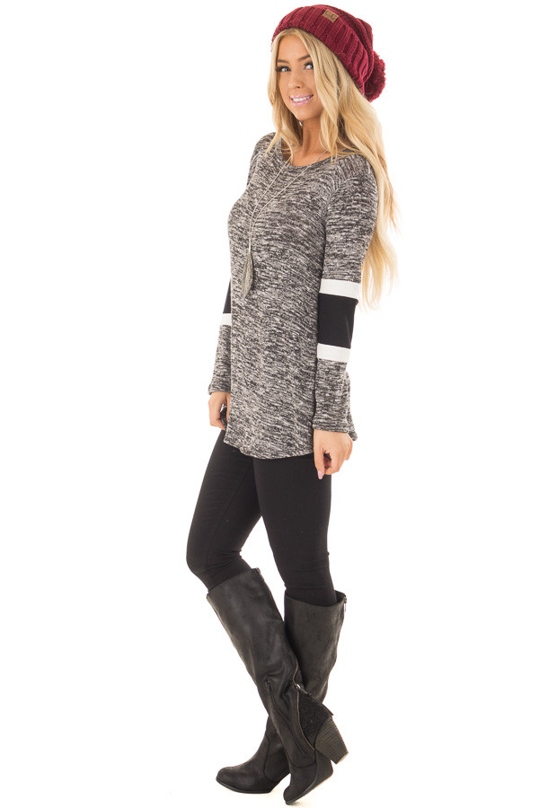 Charcoal Two Tone Top with Solid Stripe Contrast on Sleeves side full body