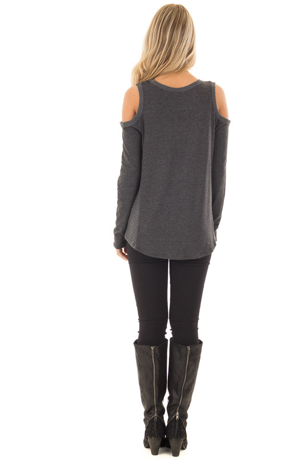 Charcoal Cold Shoulder Top with Waffle Knit Contrast back full body