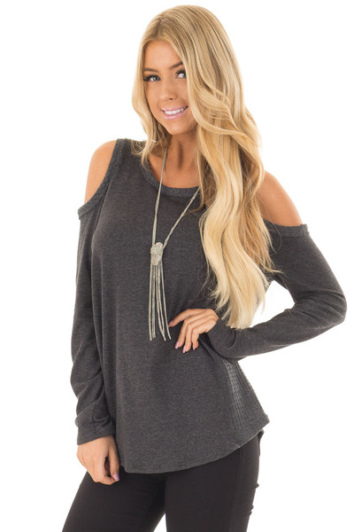 Charcoal Cold Shoulder Top with Waffle Knit Contrast front close up