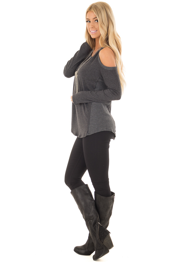 Charcoal Cold Shoulder Top with Waffle Knit Contrast side full body