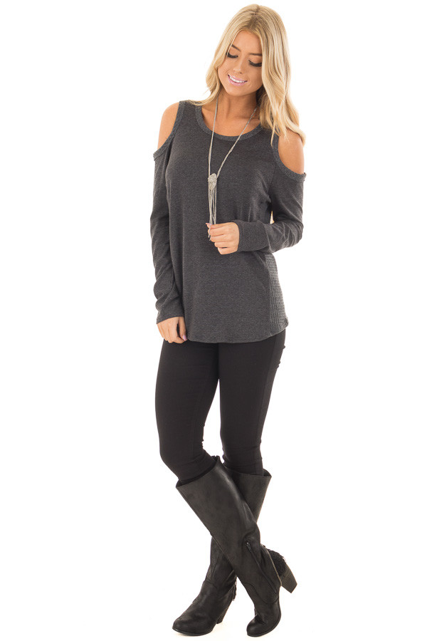 Charcoal Cold Shoulder Top with Waffle Knit Contrast front full body