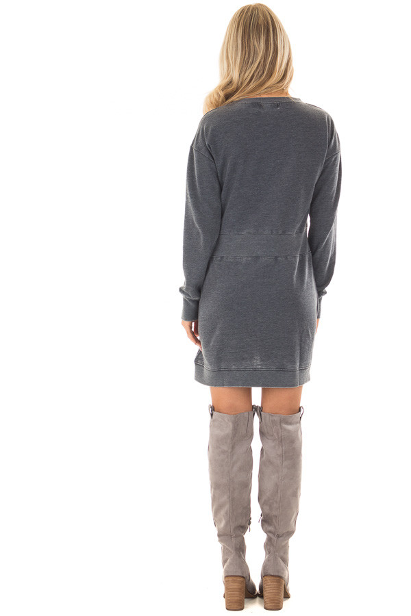 Charcoal Burnout Tunic with Waist Tie and Raw Hem Detail back full body