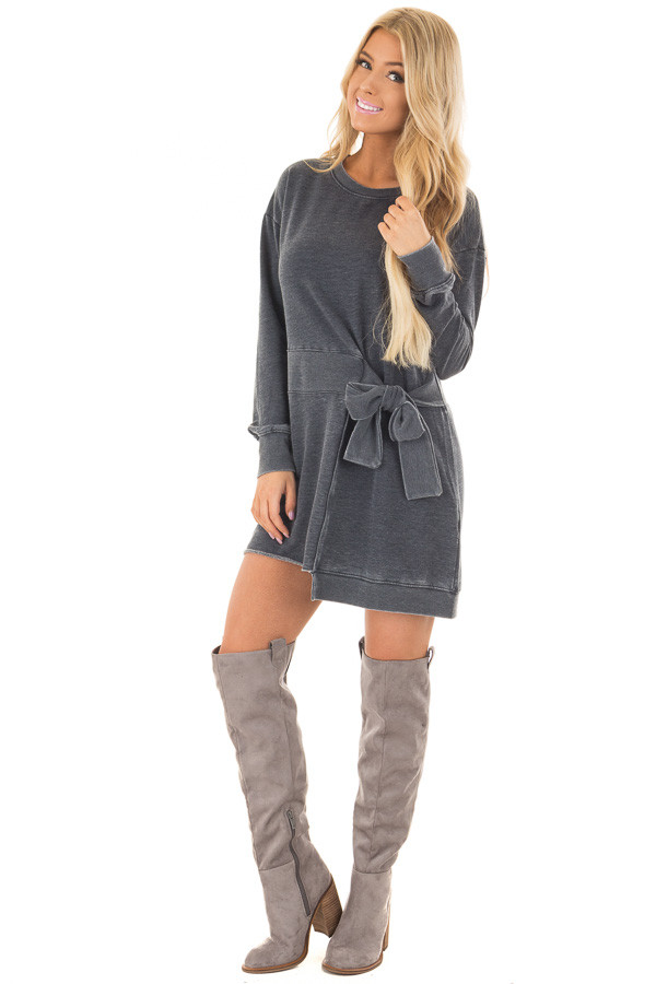 Charcoal Burnout Tunic with Waist Tie and Raw Hem Detail front full body