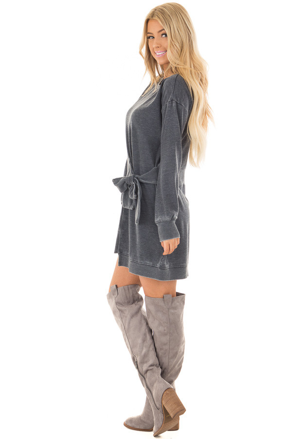 Charcoal Burnout Tunic with Waist Tie and Raw Hem Detail side full body