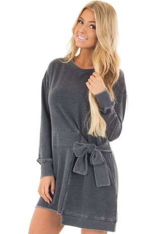 Charcoal Burnout Tunic with Waist Tie and Raw Hem Detail front close up