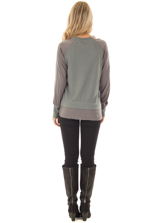 Dusty Sage Cut Out Neckline Sweater with Contrast Sleeves back full body