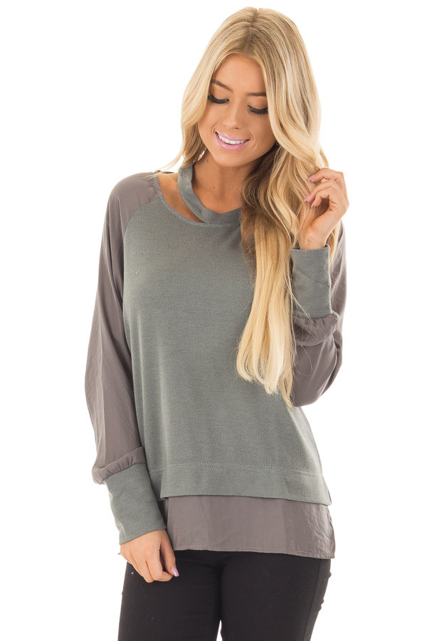 Dusty Sage Cut Out Neckline Sweater with Contrast Sleeves front close up