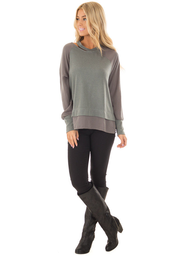 Dusty Sage Cut Out Neckline Sweater with Contrast Sleeves front full body