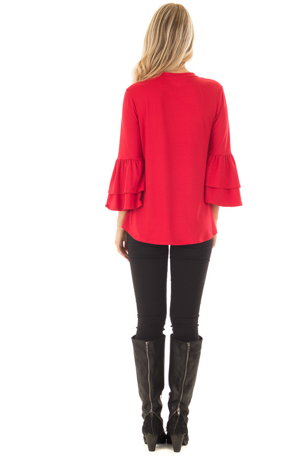 Crimson Super Soft Knit Top with Tiered Bell Sleeves back full body