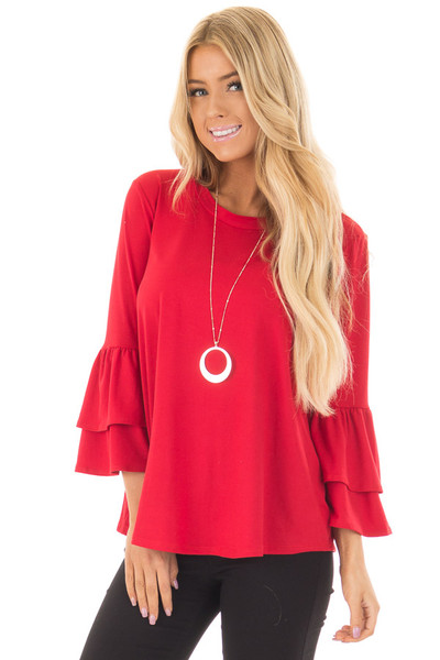Crimson Super Soft Knit Top with Tiered Bell Sleeves front close up