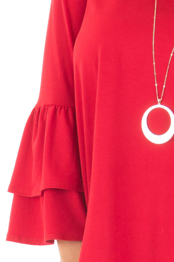 Crimson Super Soft Knit Top with Tiered Bell Sleeves detail