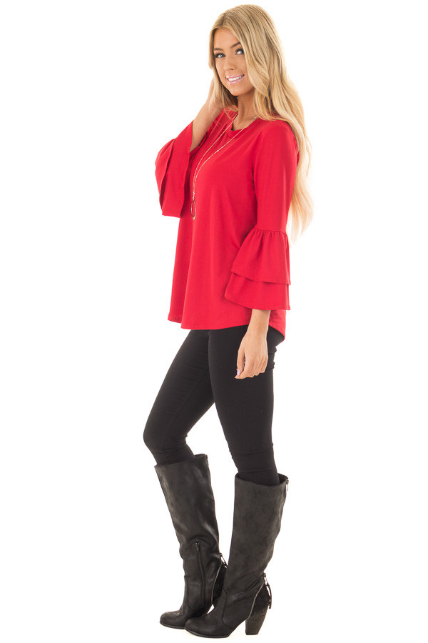 Crimson Super Soft Knit Top with Tiered Bell Sleeves side full body