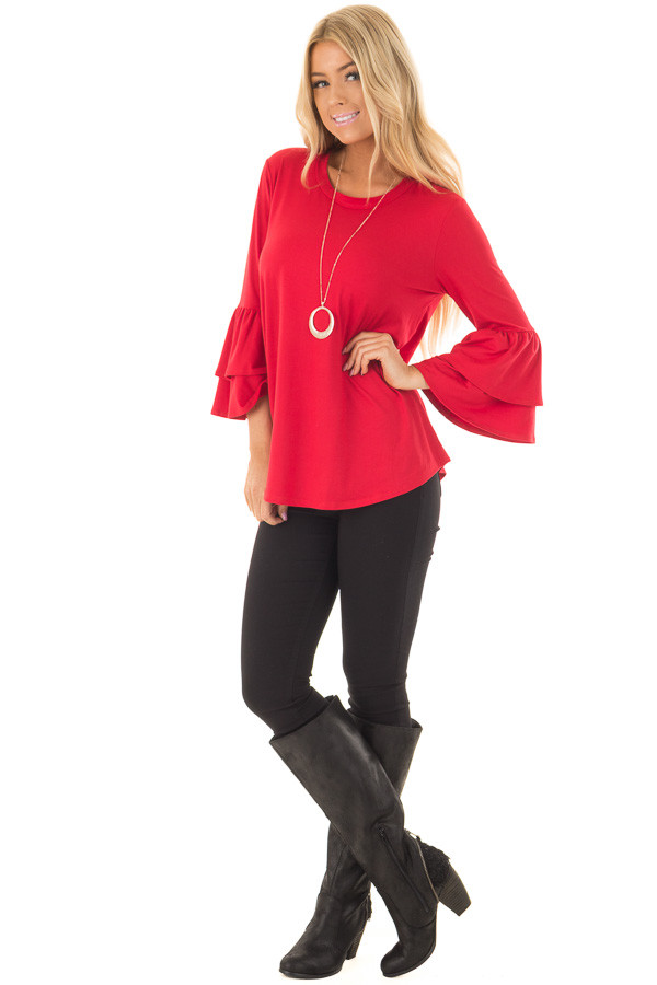 Crimson Super Soft Knit Top with Tiered Bell Sleeves front full body