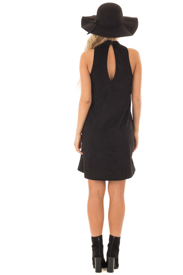 Black Faux Suede Dress with Cut Out Neckline and Pockets back full body