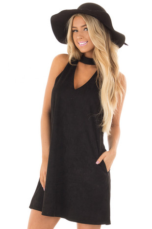 Black Faux Suede Dress with Cut Out Neckline and Pockets front close up