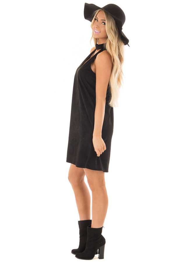 Black Faux Suede Dress with Cut Out Neckline and Pockets side full body