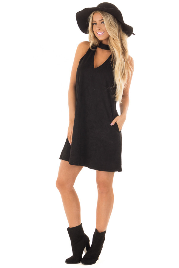 Black Faux Suede Dress with Cut Out Neckline and Pockets front full body