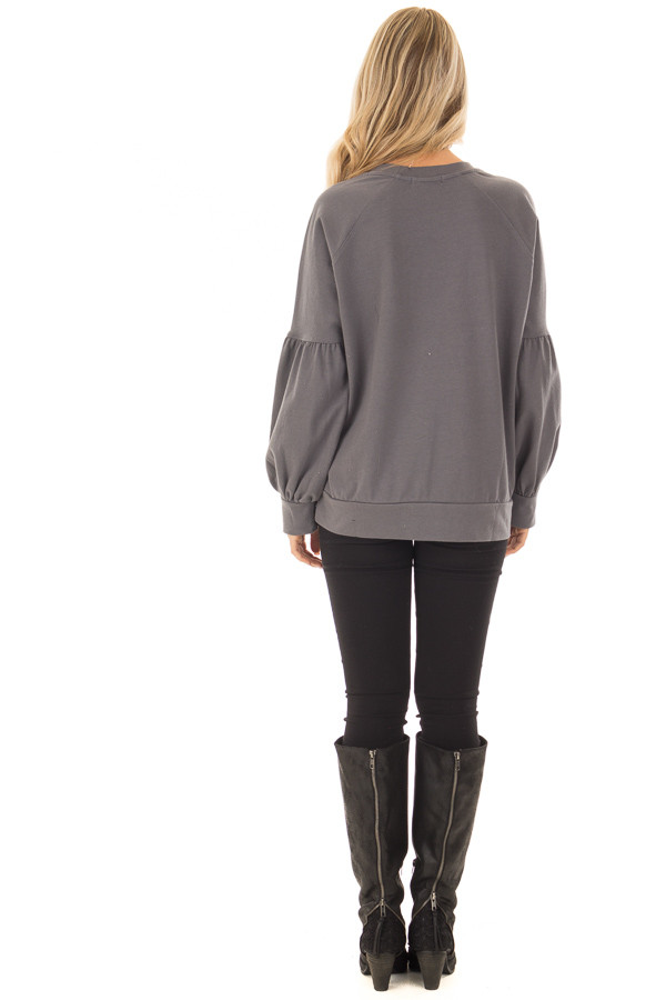 Charcoal Crew Neck Sweater with Bubble Sleeves back full body