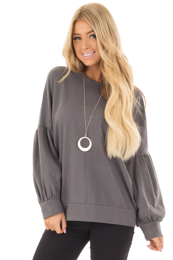 Charcoal Crew Neck Sweater with Bubble Sleeves front close up