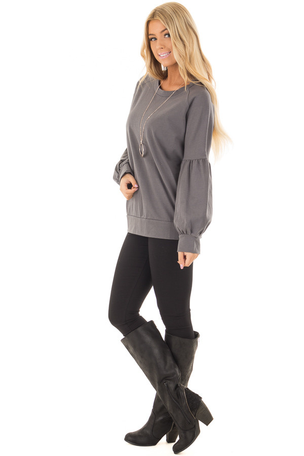 Charcoal Crew Neck Sweater with Bubble Sleeves side full body