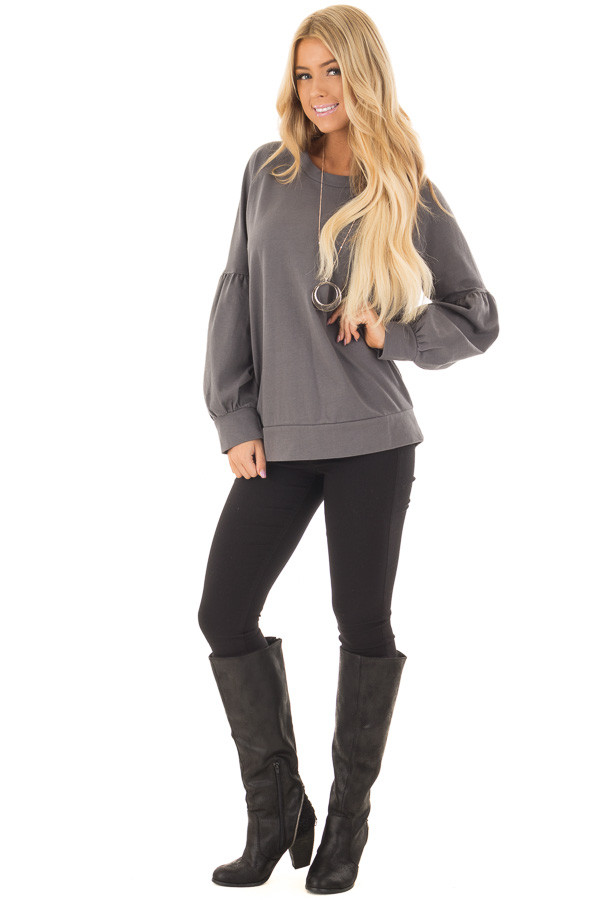 Charcoal Crew Neck Sweater with Bubble Sleeves front full body