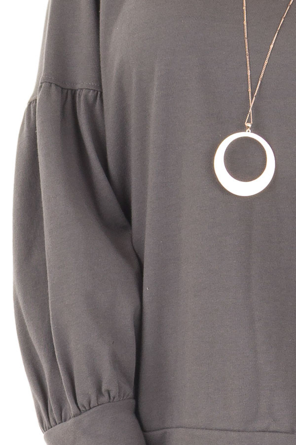 Charcoal Crew Neck Sweater with Bubble Sleeves detail