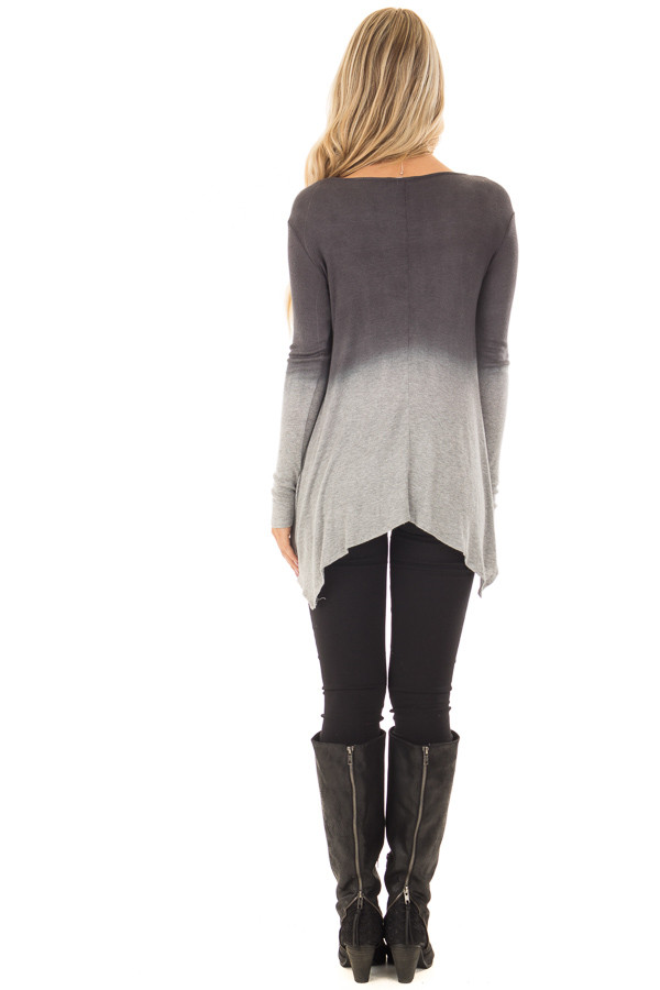 Charcoal and Heather Grey Dip Dye Ombre Tee Shirt back full body