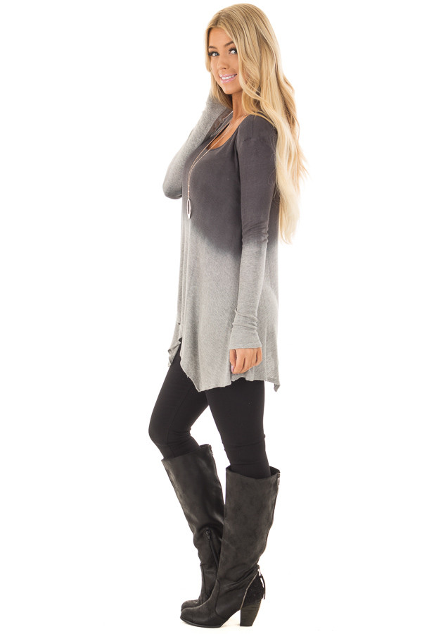 Charcoal and Heather Grey Dip Dye Ombre Tee Shirt side full body