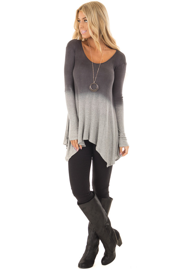 Charcoal and Heather Grey Dip Dye Ombre Tee Shirt front full body