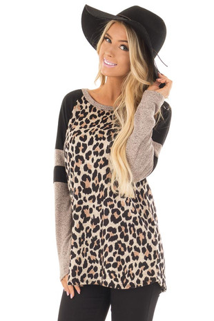 Beige Leopard Print Top with Black and Mocha Raglan Sleeves front close up