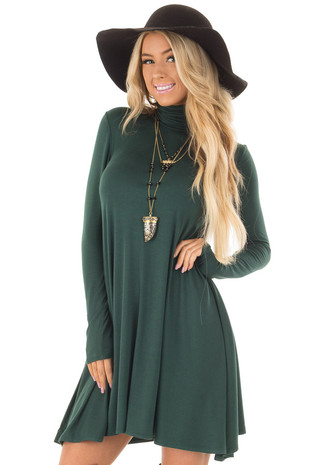 Hunter Green Long Sleeve Turtleneck Swing Dress front close up