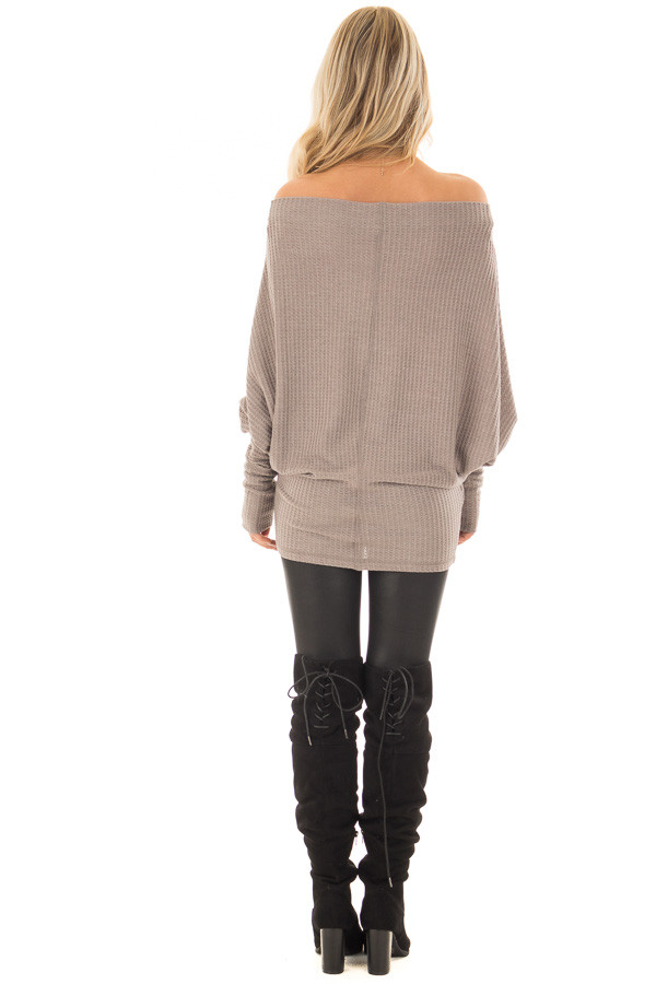 Coco Oversized Off the Shoulder Waffle Knit Top back full body